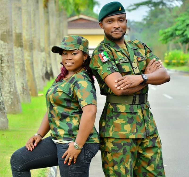 Couple-in-military-uniform-for-pre-wedding-photos
