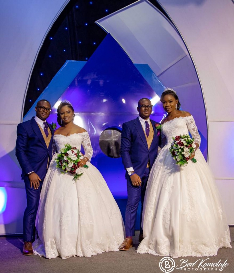 Wedding pictures of identical twins with their lovely wives