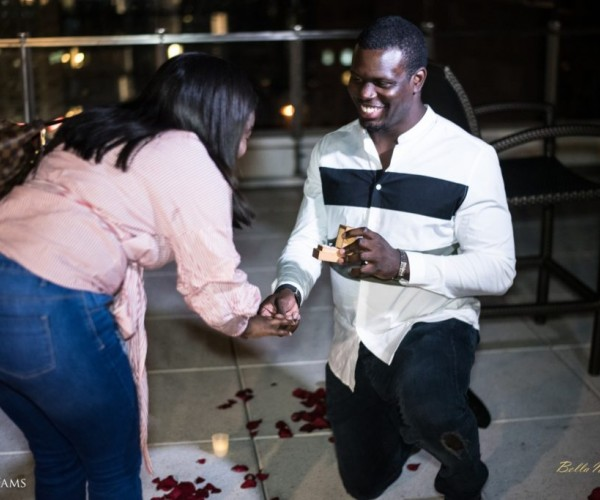 Ladapo Proposes To His Girlfriend Eniola At The Rooftop