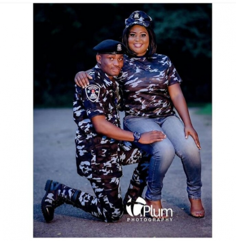 Nigerian police officer in pre-wedding photos with fiancee