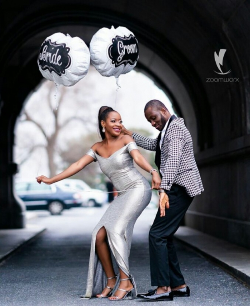 Pre-wedding photos of dancing couple