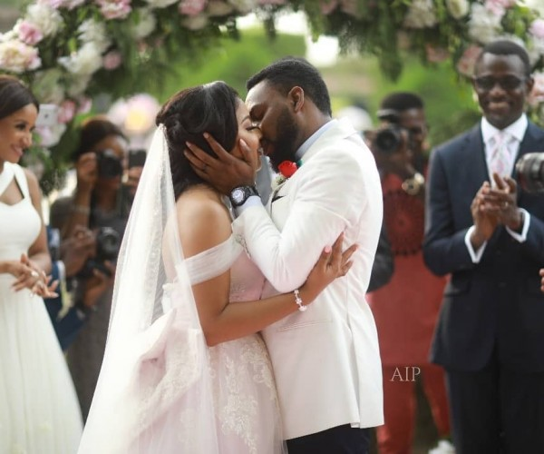 Tinsel Co-Stars - Linda Ejiofor and Ibrahim Suleiman White Wedding Photos